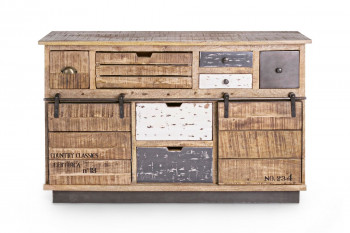 Buffet 2 portes 7 tiroirs bois et métal - HARLEM