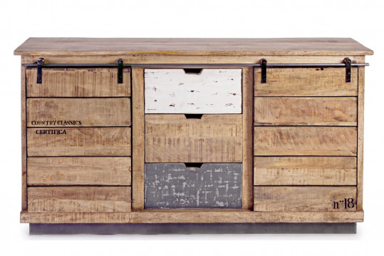 Buffet 2 portes 3 tiroirs bois et métal - HARLEM