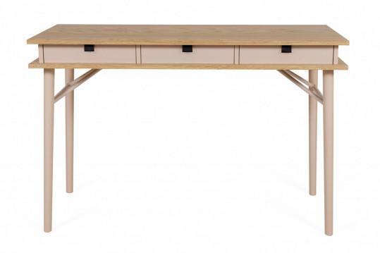 Bureau en bois et détail cuir - DESCARTES