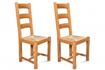 Chaises en chêne moyen La BRESSE - Assise paille (Lot de 2)