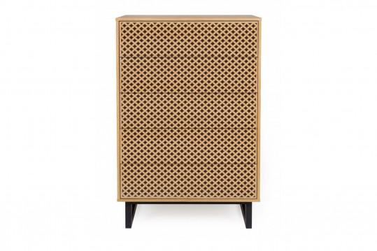 Commode moderne en bois 5 tiroirs - NARVIK