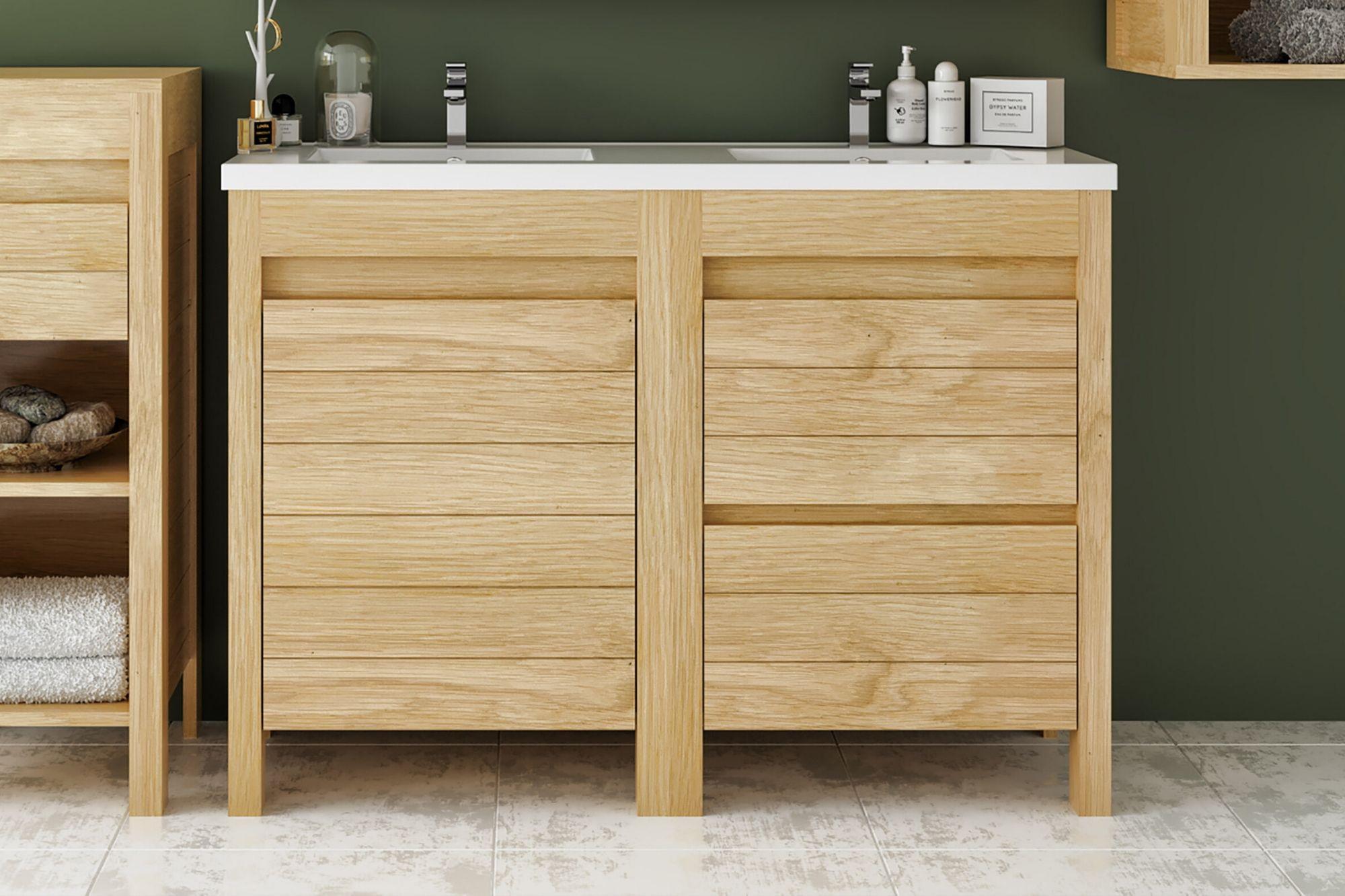 Meuble de salle de bain 15 cm en chêne massif avec double vasque - Hellin