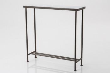 Console industrielle en métal gris et verre ROUBAIX