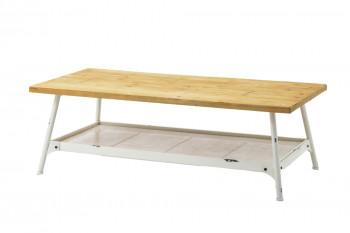 Table basse en métal blanc et bois TENERIFE