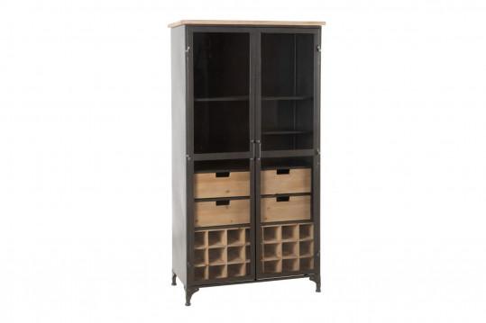 Vitrine en bois et métal 2 portes 4 tiroirs OREGON