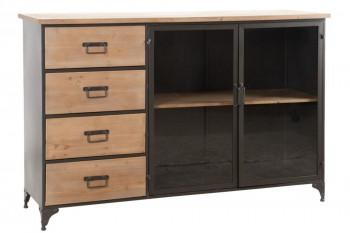 Buffet bas en bois et métal 2 portes 4 tiroirs OREGON