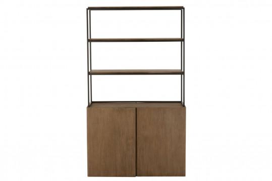 Bibliothèque en bois et métal avec rangement - MATHIS