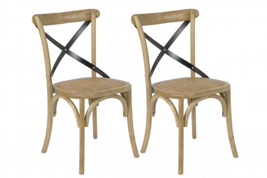 Chaises Bistrot en bois massif et métal (Lot de 2)