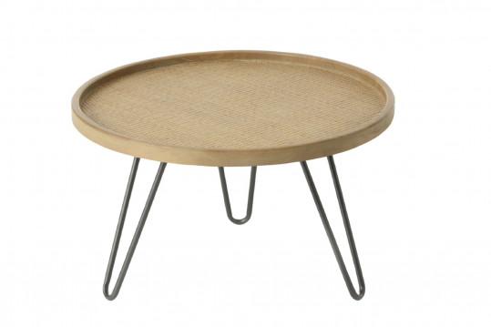 Table basse en rotin tressé et pieds métal - Médium -TEDDY