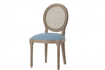Chaise médaillon en bois et tissu coloré