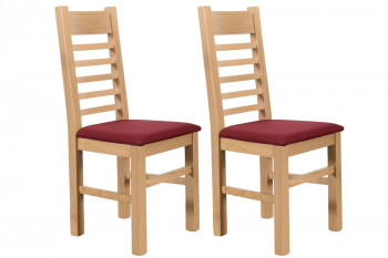 Chaises en chêne blanchi Boston - Assise rouge (Lot de 2)