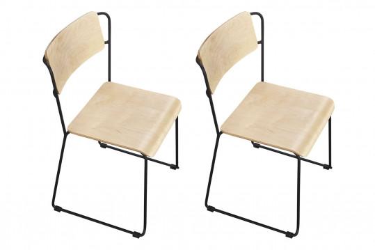 Chaise en bois et métal (lot de 2) MARA - HELLIN