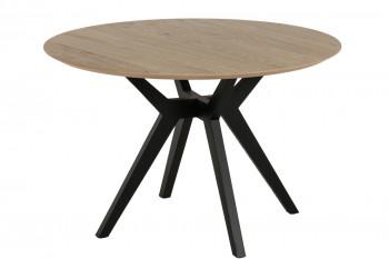 Table ronde en chêne et pieds croisés bois D120 - BRIGHTON
