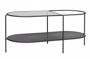 Table basse ovale en verre et métal noir - HELDER