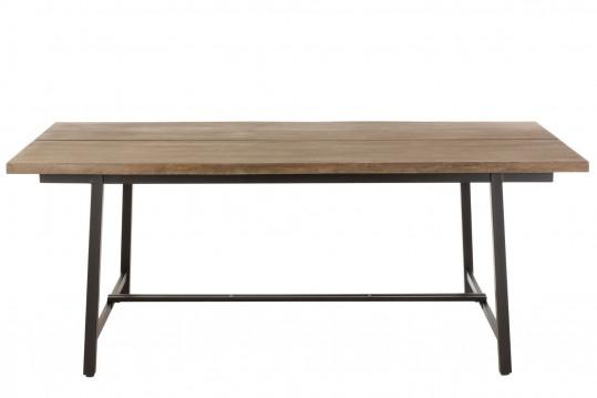 Table à manger rectangulaire en bois et métal L200 - NATURA