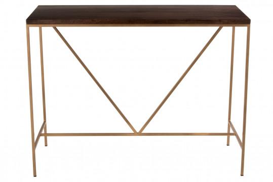 Console en bois de manguier et métal doré - RAPH