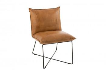 Fauteuil lounge en simili cuir et métal - AVERY