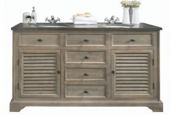Meuble de salle de bain double vasque en chêne vieilli L150 - ROME