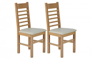 Chaises en hêtre et assise colorée simili (lot de 2) - BOSTON