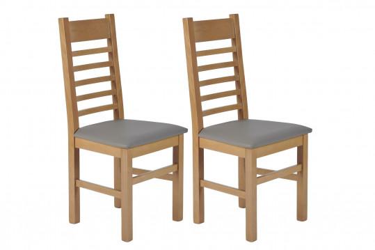 Chaises en hêtre et assise colorée simili (lot de 2) - BOSTON