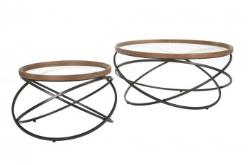 Tables basses rondes en bois et métal (lot de 2) - SPIRALIS