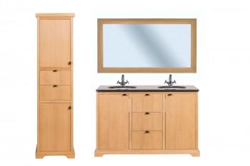 Meuble de salle de bain double vasque en chêne L135 - ensemble CAPRI