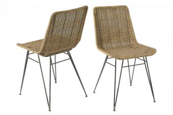 Chaise en rotin et métal (lot de 2) - ZITA
