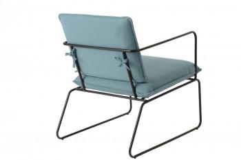 Dos du fauteuil bleu et pieds noirs