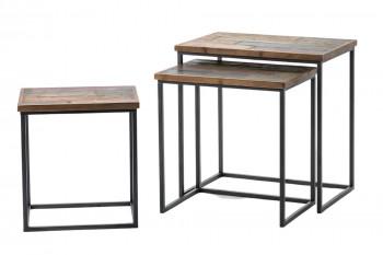 Ensemble de trois tables basses rectangulaires en bois et métal