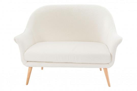 Canapé deux places en tissu bouclette blanc