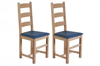 Chaises en bois - assise simili cuir colorée (Lot de 2) - RIGA