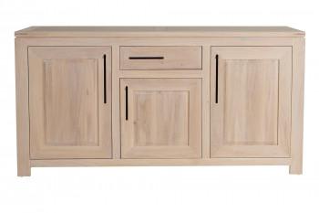 Buffet bas moderne en chêne blanchi 3 portes 1 tiroir - BOSTON