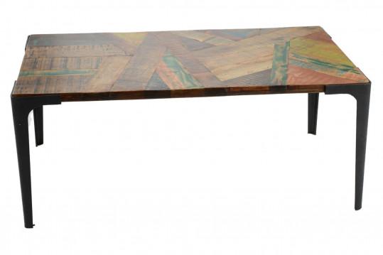 Table basse rectangulaire en bois recyclé et métal - CANCUN