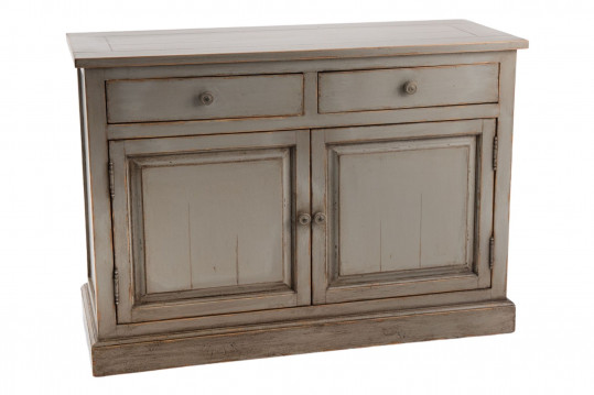 Buffet bas en bois patiné 2 portes et 2 tiroirs - LAVANDE