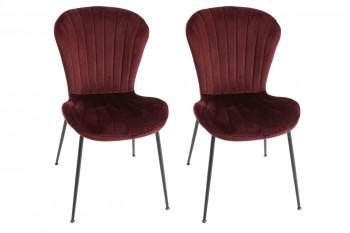 Chaises en velours et métal noir (lot de 2) - PERLE