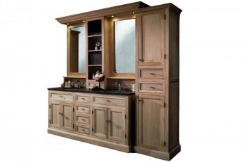 Meuble de salle de bain double vasque + 1 colonne D - ensemble VERONE