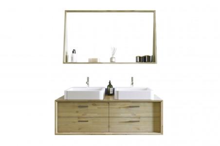 meuble de salle de bain en bois avec double vasque et miroir