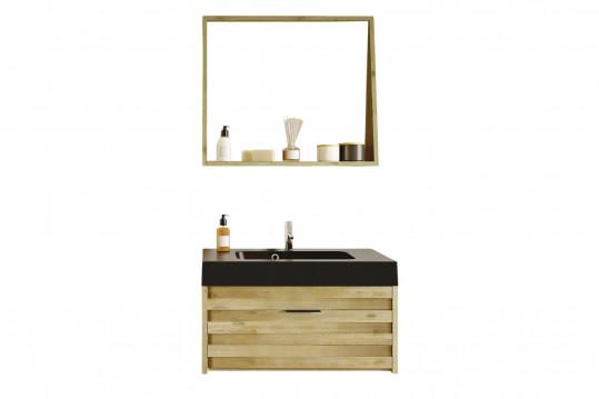meuble de salle de bain simple vasque avec miroir