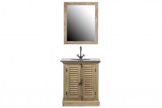 Meuble simple vasque en bois et miroir - ENSEMBLE HANOÏ
