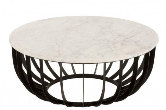 Table basse ronde en marbre et pied en métal noir diamètre 90 cm