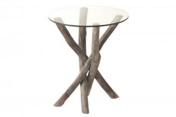 Bout de canapé rond en verre et bois flotté - NOE