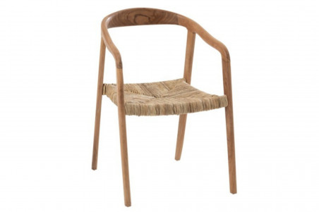 chaise en teck, assise en jonc de mer et accoudoirs