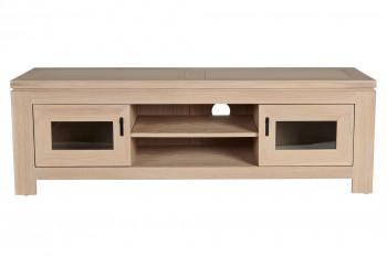 OCCASION Meuble TV bas moderne en chêne blanchi 2 portes 2 niches - BOSTON