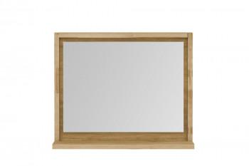miroir de salle de bain rectangulaire en bois avec étagère