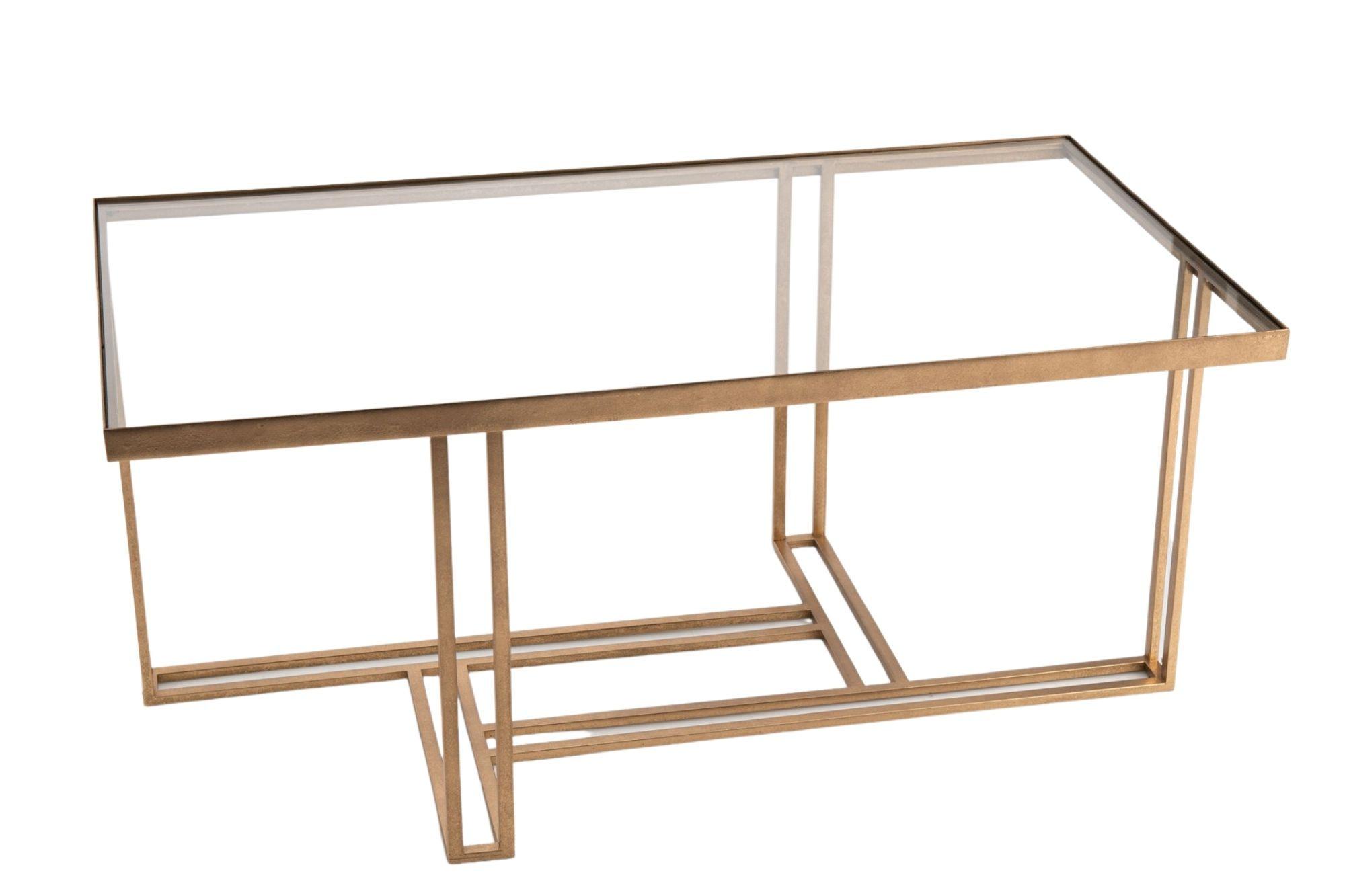 table basse rectangulaire en métal doré et verre