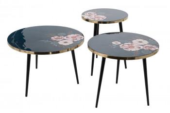 set de 3 tables basses rondes en métal