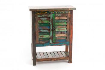 Buffet 2 portes en bois recyclé coloré