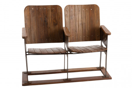 double siège de cinéma en bois et métal