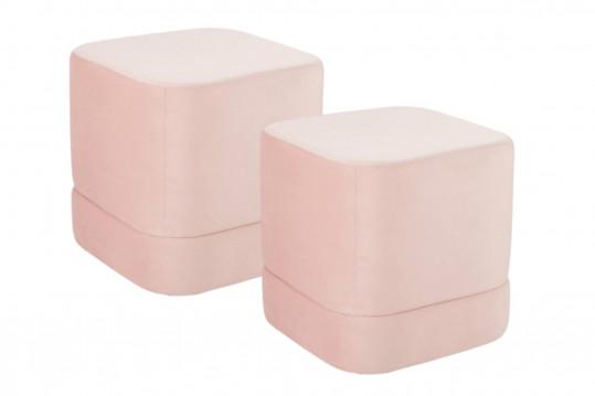 lot de 2 pouf carré en velours rose
