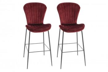 Chaises de bar en velours et métal noir (lot de 2) - PERLE